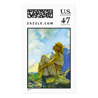 Morning, Maxfield Parrish Postage Stamp