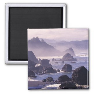 Morning mist along Oregon coast near Nesika, 2 Inch Square Magnet