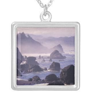 Morning mist along Oregon coast near Nesika, Personalized Necklace