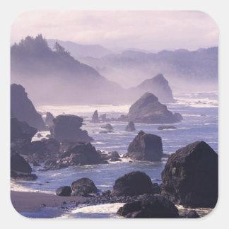 Morning mist along Oregon coast near Nesika, Square Sticker