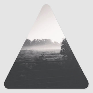 Morning mist and low sun on the field when droppib triangle sticker