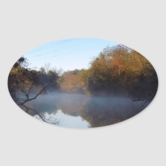 Morning Mist - Contentnea Creek, North Carolina Oval Sticker