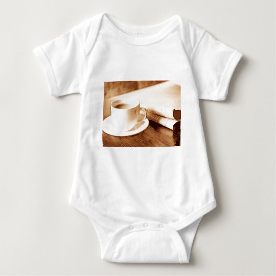 Morning News and Coffee Sepia Tone Baby Bodysuit