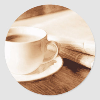 Morning News and Coffee Sepia Tone Classic Round Sticker