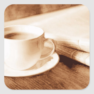Morning News and Coffee Sepia Tone Square Sticker