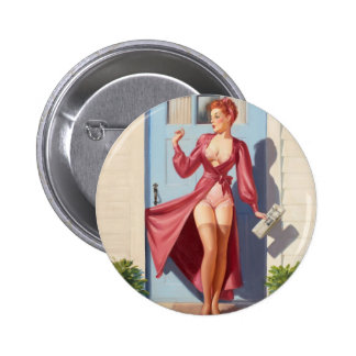 Morning Newspaper Pin-Up Girl Button