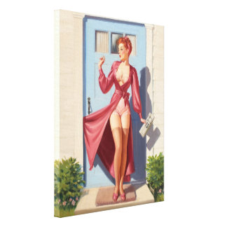 Morning Newspaper Pin-Up Girl Gallery Wrap Canvas