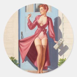Morning Newspaper Pin-Up Girl Classic Round Sticker