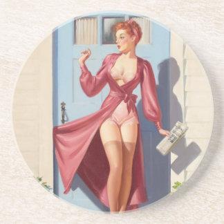 Morning Newspaper Pin-Up Girl Coaster