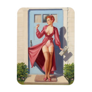 Morning Newspaper Pin-Up Girl Magnet