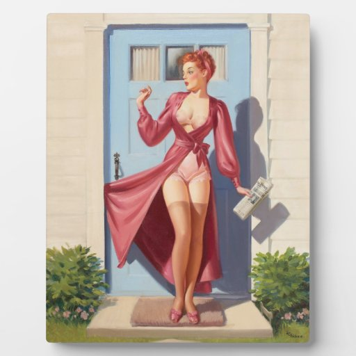 Morning Newspaper Pin-Up Girl Photo Plaque
