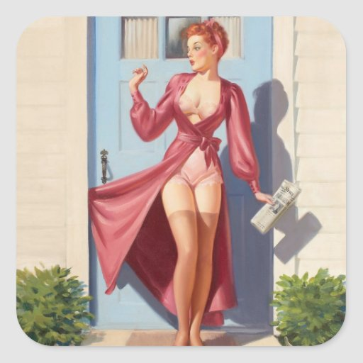 Morning Newspaper Pin-Up Girl Square Sticker