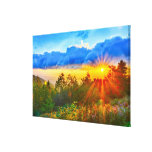 morning on mount mitchell stretched canvas print