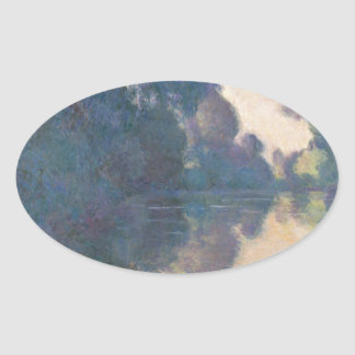 Morning on the Seine near Giverny - Claude Monet.j Oval Sticker