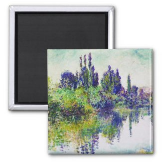 Morning on the Seine, near Vetheuil Claude Monet 2 Inch Square Magnet