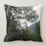 Morning on the Trail to Vernal Falls in Yosemite Throw Pillow