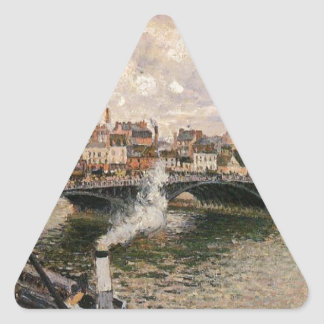 Morning, Overcast Day, Rouen by Camille Pissarro Triangle Sticker
