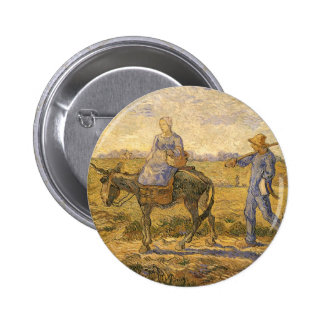 Morning: Peasant Couple Going to Work by van Gogh Pin