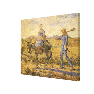 Morning: Peasant Couple Going to Work by van Gogh Canvas Print