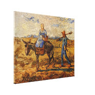 Morning peasant couple going to work canvas prints