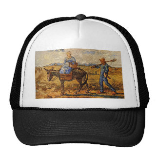 Morning peasant couple going to work trucker hats