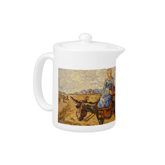 Morning peasant couple going to work teapot