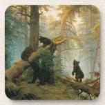Morning Pine Forest with Playful Bears Vintage Beverage Coaster