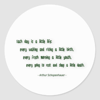 Morning Quote by Arthur Schopenhauer Classic Round Sticker