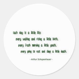 Morning Quote by Arthur Schopenhauer Classic Round Sticker