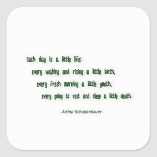 Morning Quote by Arthur Schopenhauer Square Sticker