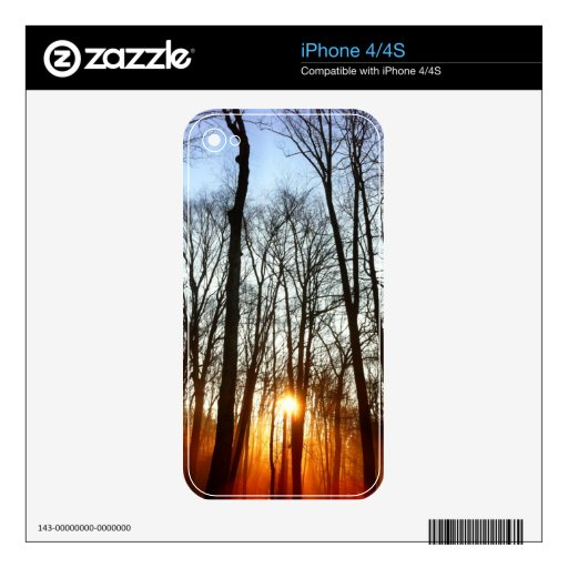 Morning Rays Peeking Through The Trees iPhone skin Decals For The iPhone 4S