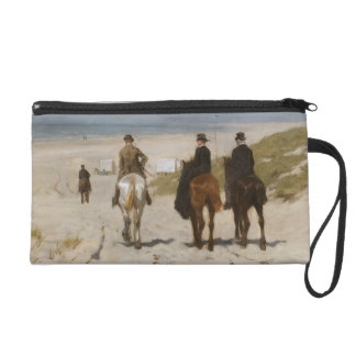 Morning Ride On The Beach - Anton Mauve Wristlet Clutches