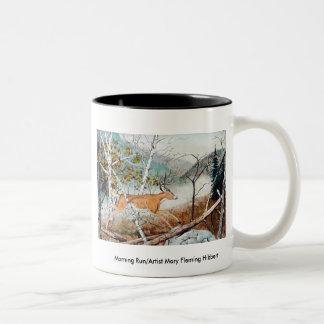 Morning Run/Artist Mary Flem... Two-Tone Coffee Mug