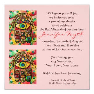 """Morning Service Invit (square)  City Life Hamsa 5.25"""" Square Invitation Card"""