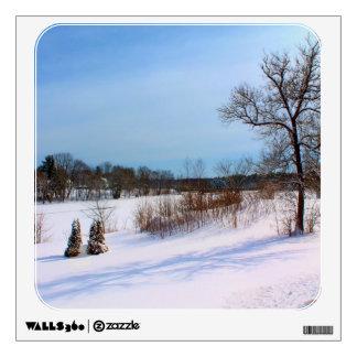 Morning Shadows In A Snowy Field Wall Sticker