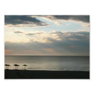 Morning sky over Greek beach Photo prints