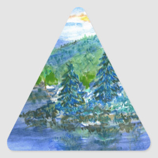 Morning Sky - watercolor pencil Triangle Sticker