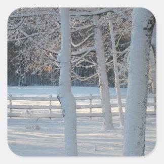 Morning Snowy Meadow Sticker