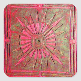 MORNING STAR ,antique red,green Square Sticker