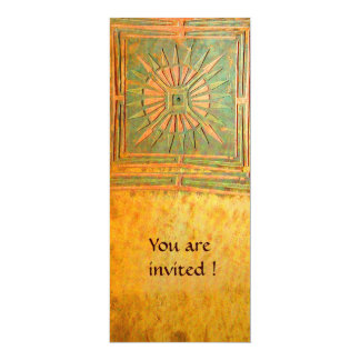 MORNING STAR , antique yellow brown green 4x9.25 Paper Invitation Card