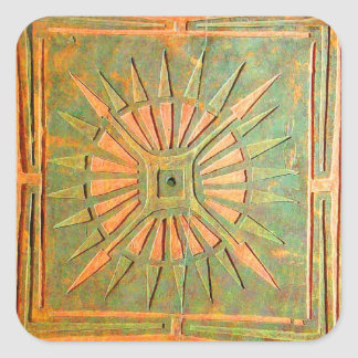 MORNING STAR ,antique yellow,brown,green Square Sticker