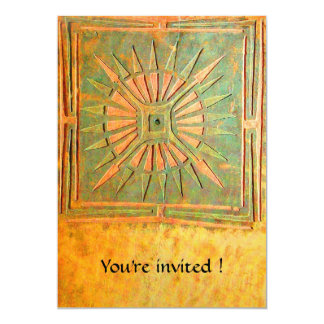 MORNING STAR , antique yellow green,white 5x7 Paper Invitation Card
