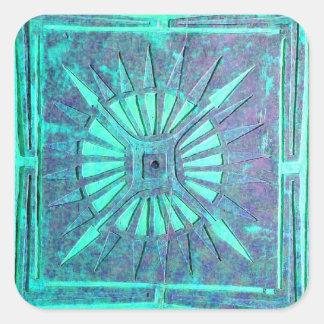 MORNING STAR ,aqua blue,turquase,teal Square Sticker