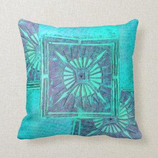 MORNING STAR ,Aqua Blue Turquase Throw Pillow