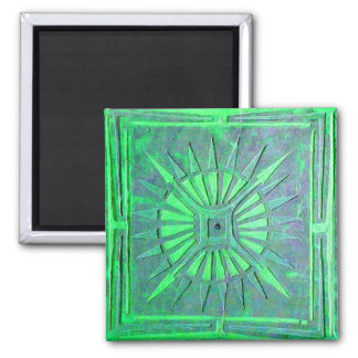 MORNING STAR ,blue green 2 Inch Square Magnet