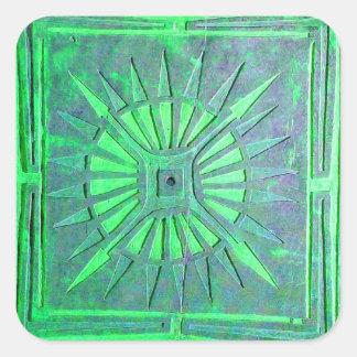 MORNING STAR ,blue,light ,green Square Sticker