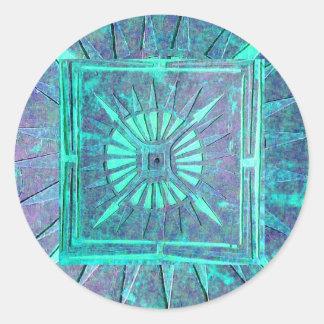MORNING STAR ,blue turquase Classic Round Sticker