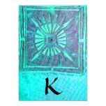 MORNING STAR , bright blue teal,white 5x7 Paper Invitation Card