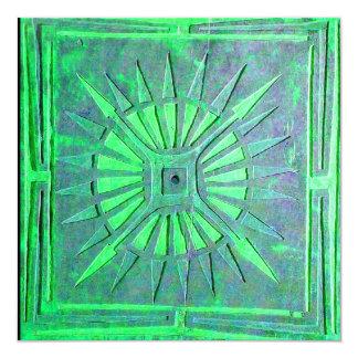 MORNING STAR , bright green white Invitation