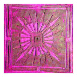 MORNING STAR , bright pink,violet white 5.25x5.25 Square Paper Invitation Card